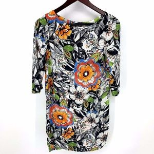 Zara Basic Floral Shift Dress 3/4 Sleeves XS
